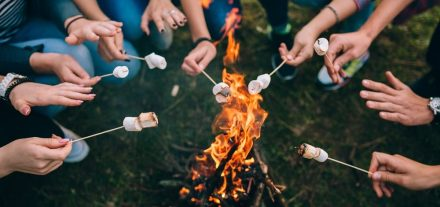 roasting marshmallows at a campfire